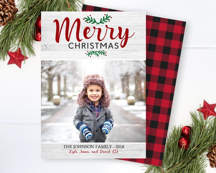 Rustic Christmas Photo Card Printable Holiday Card Family Christmas Card Photo Card White Wood Red Black Buffalo Plaid Check Printed Cards