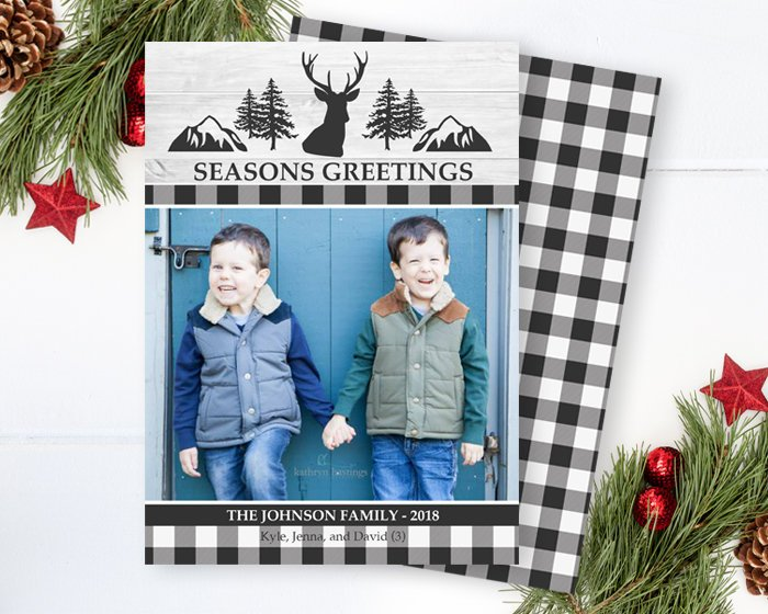 Black and White Buffalo Plaid Christmas Photo Card Rustic Christmas Card Family Photo Card Holiday Card White Wood Deer Printable or Printed