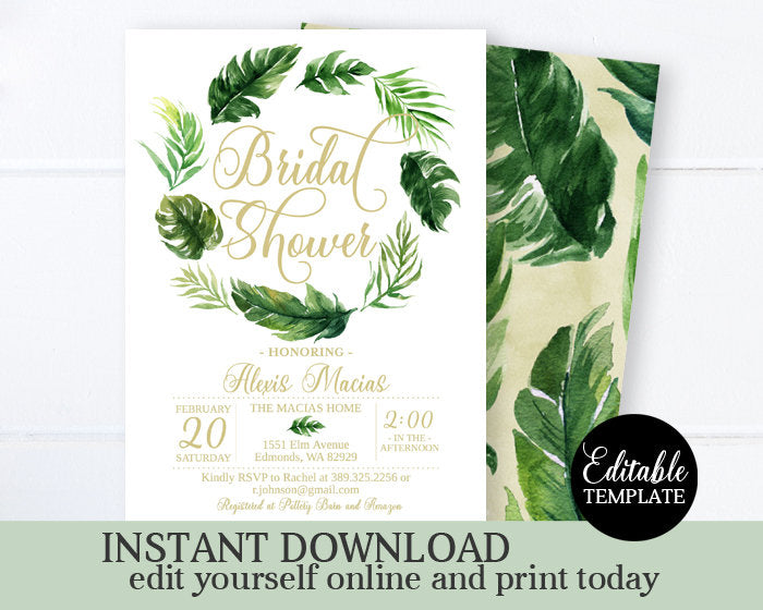 Tropical Bridal Shower Invitation Tropical Wedding Shower Invitation Beach Bridal Shower Luau Hawaiian Bridal Brunch Printable Editable