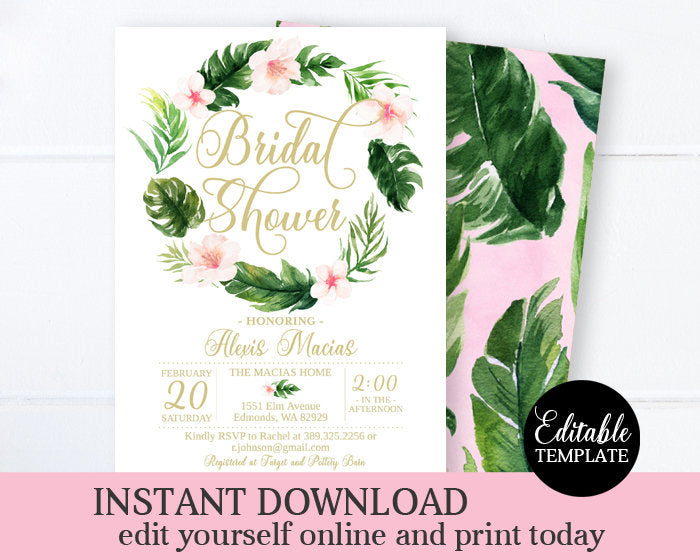 Tropical Bridal Shower Invitation Template, Editable Invitation, Instant Download, Printable, SP0023