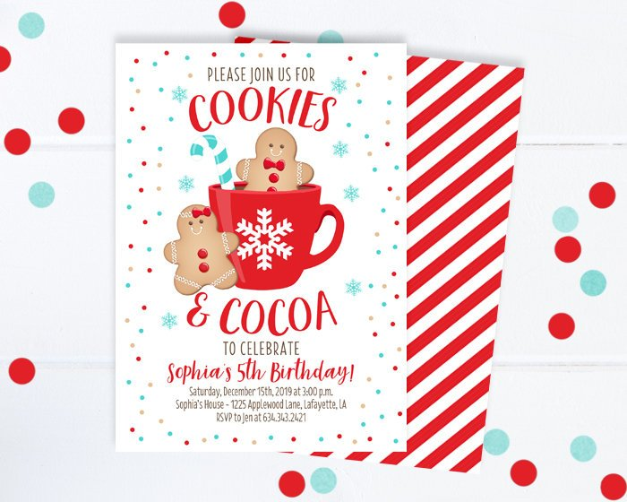 Cookies & Cocoa Winter Birthday Invitation Gingerbread Hot Chocolate Party Invitation Holiday Party Invite Christmas Party Invitation