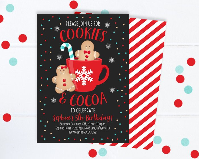 Christmas Cookie Party Invite.Gingerbread Birthday Invitation Christmas Birthday Invitation Cookies And Cocoa Cookie Decorating Party Cookie Exchange Winter Birthday