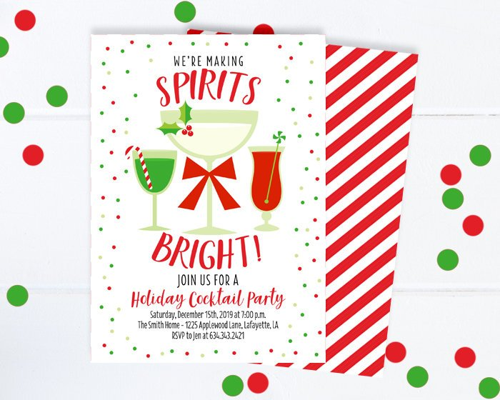 Christmas Holiday Party.Adult Christmas Party Invitation Cocktail Party Invitation Holiday Party Invitation Making Spirits Bright Cocktail Party Invite