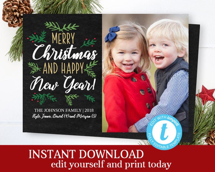 Christmas Photo Card Christmas Card Holiday Photo Card Holiday Card Photo Christmas Cards Printable Editable Template Rustic Christmas Card