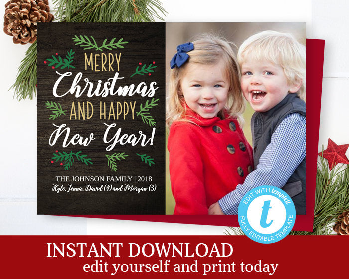 Rustic Christmas Photo Cards Holiday Photo Cards Christmas Card Holiday Card Photo Christmas Cards Editable Template Merry Christmas