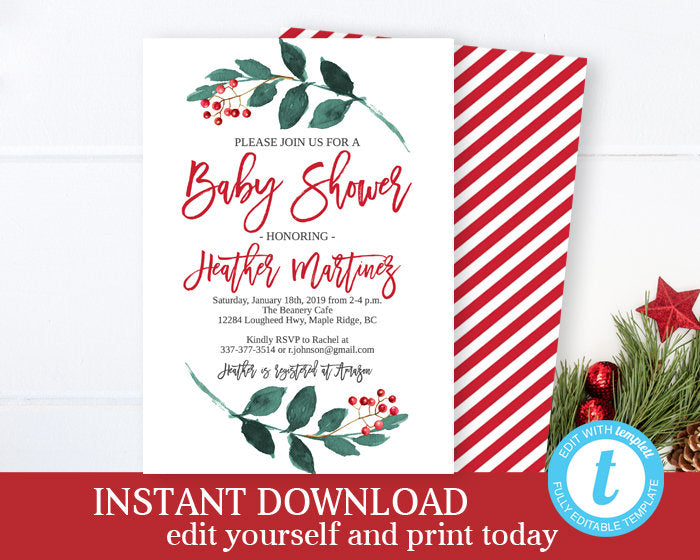 Christmas Baby Shower Invitation Winter Baby Shower Invitation Christmas Baby Shower Invite Baby It's Cold Outside Winter Wonderland INSTANT