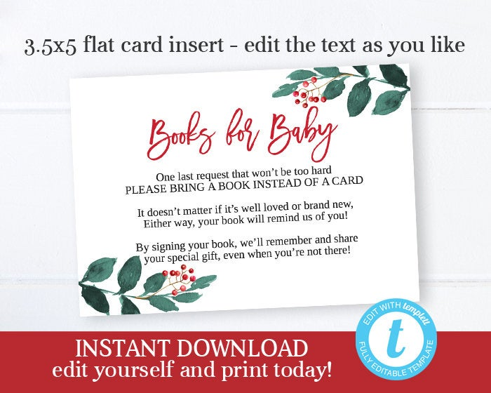 Christmas Baby Shower Bring a Book Insert Books for Baby Card Matching 3.5x5 Insert Editable Template Change Wording Printable File Templett