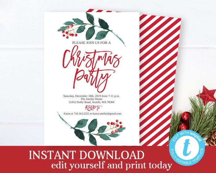 Christmas Party Invitation Holiday Party Christmas Invite Holiday Invitation Office Christmas Party Invite Printable Invitation Editable