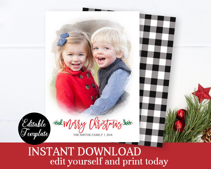 Black and White Buffalo Plaid Christmas Card Photo Template Printable Xmas Card Photo Holiday Card Templett Editable Instant Download