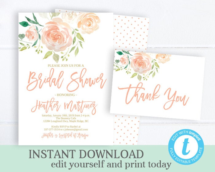 Boho Bridal Shower Invitation KIT Peach and Gold Watercolor Peonies Bridal Shower Invite Bridal Brunch Invite INSTANT DOWNLOAD Editable