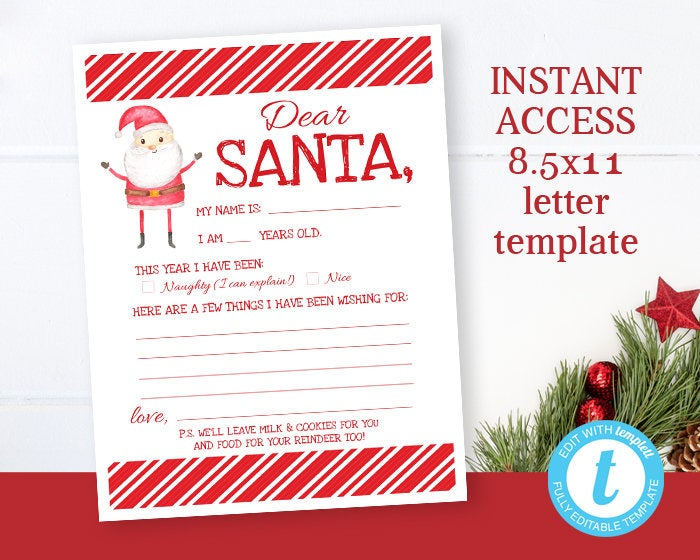 Printable Santa Letter, Letter to Santa, Christmas Wish List, Instant Download, Kids Christmas List, Dear Santa, Holiday Wish List