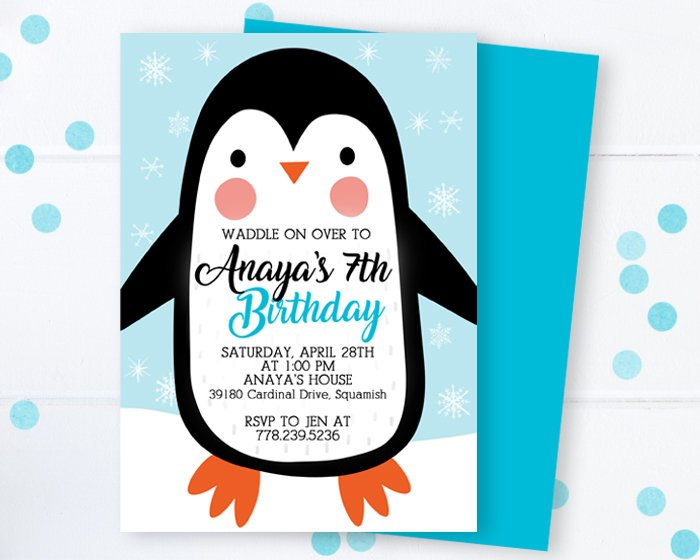 photo relating to Penguin Pattern Printable named Penguin Birthday Invitation Winter season Birthday Invite Arctic Animal Birthday Invite Penguin Bash Invites