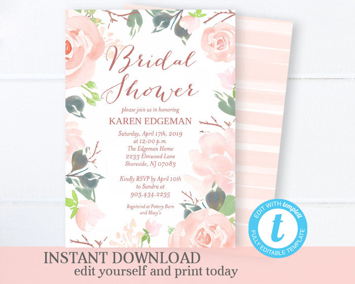 Pink Floral Bridal Shower Invitation, Love in Bloom Bridal Shower Invite, Printable Invitation, Instant Download, EDITABLE Template, SP0020