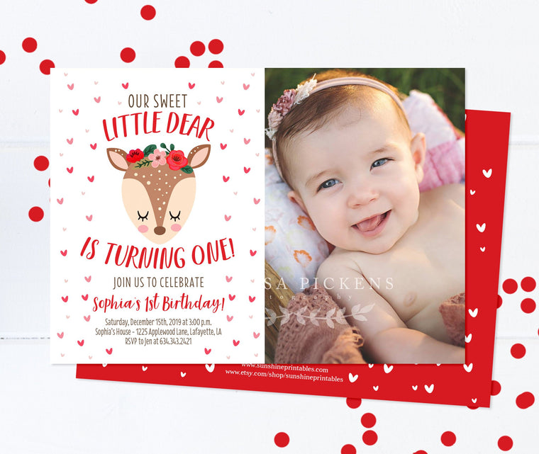 Valentines Day 1st Birthday Invitation Girl Little Deer Birthday Invite Sweetheart Girl Birthday Invitation Printed Invitations or Printable
