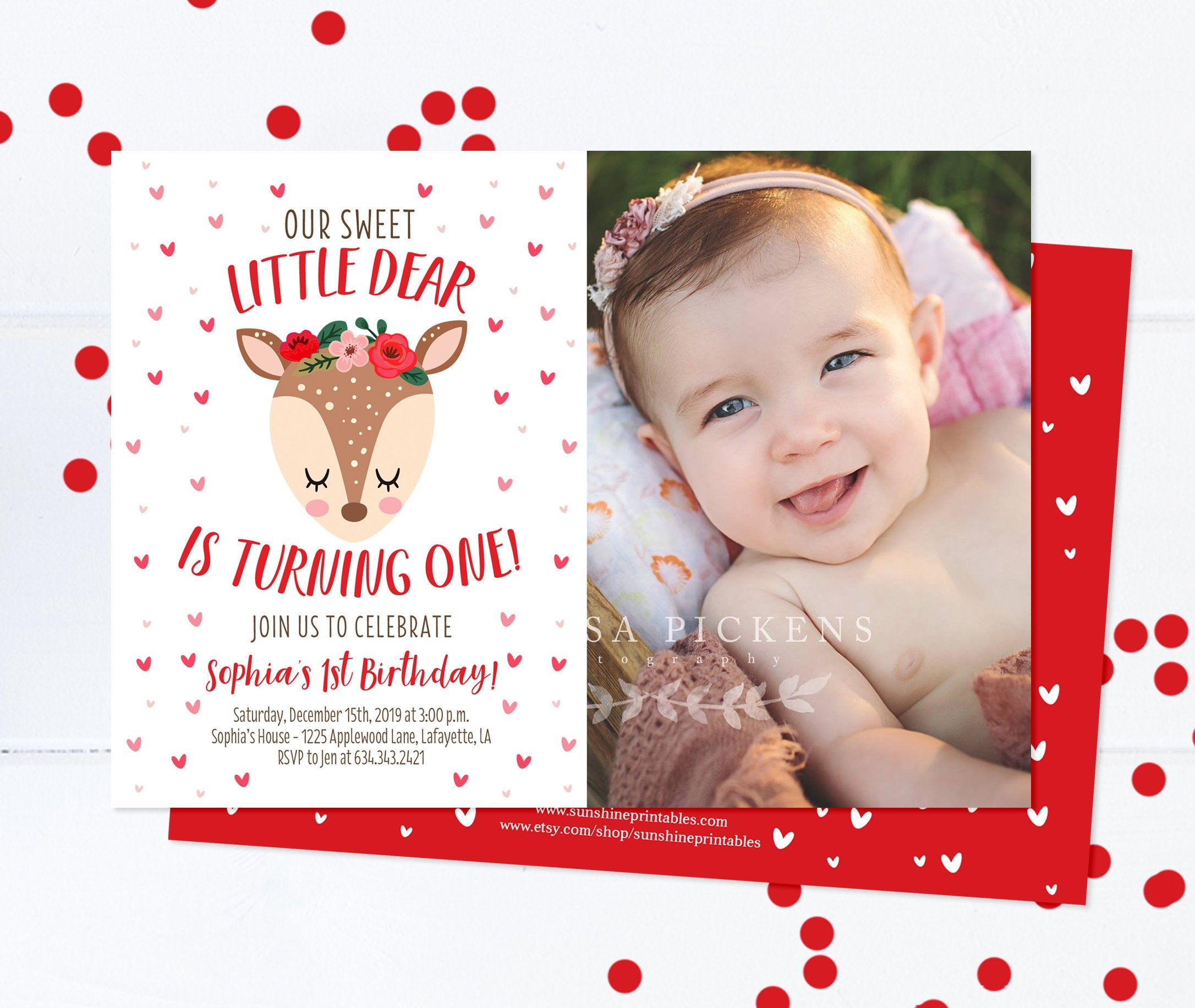 Sweetheart 1st Birthday Invitation Girl First Invite Valentines Day Theme Little Deer Woodland