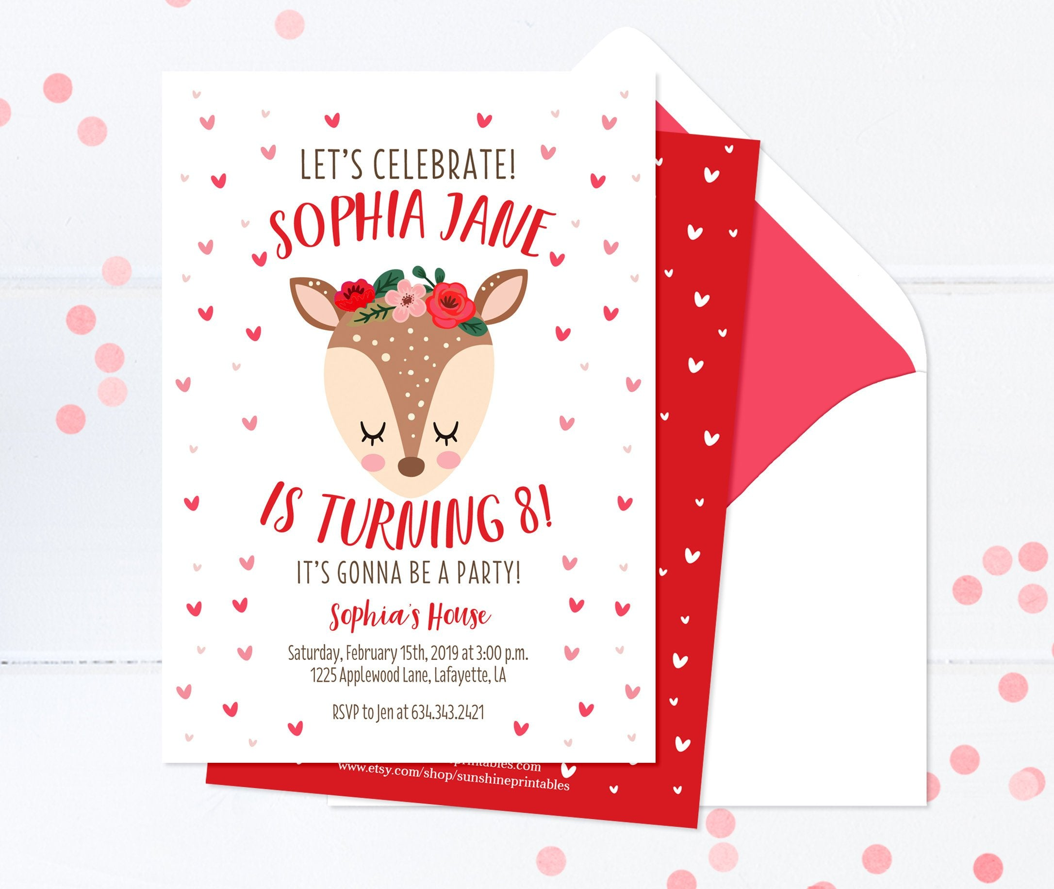 Red And Pink Sweetheart Girl Birthday Invitation Valentines Day Invite For Hearts Woodland Deer Flowers Sleepy Eyes