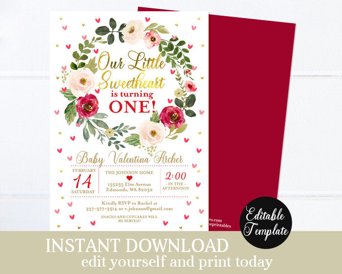 Our Little Sweetheart Floral Girl 1st Birthday Invitation Valentine Hearts Pink and Red First Birthday Invite Printable Invitation SP0031