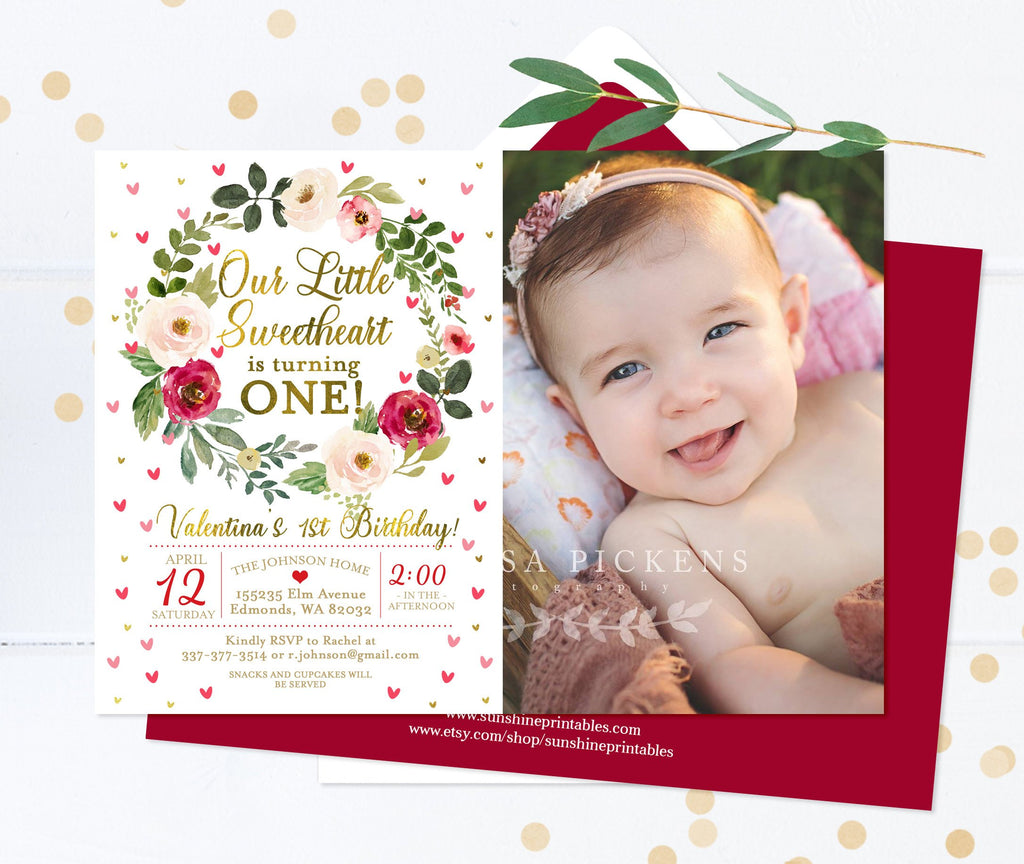Our Little Sweetheart is Turning One 1st Birthday Invitation Girl Floral Birthday Invite with Photo Red and Pink Hearts Printed Invitations