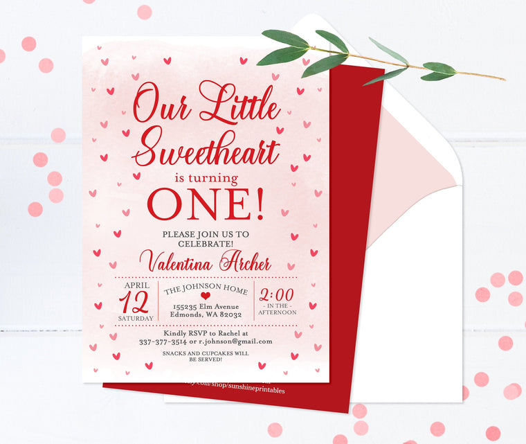 Pink and Red Hearts Valentine 1st Birthday Invitation Girl Our Little Sweetheart First Birthday Invite Printable or Printed Invitations