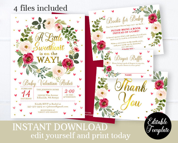 Floral Sweetheart Baby Shower Invitation Girl Baby Shower Printable Invitation Editable Template Valentine Baby Shower Red & Pink SP0031