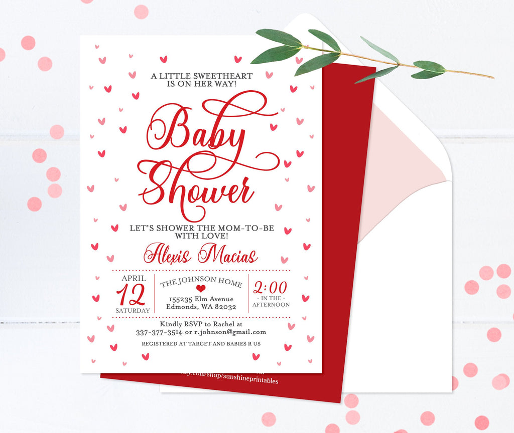 Printable Valentine Baby Shower Invitation Hearts Baby Shower Invite Red and White Printed Valentine Baby Shower Invitations Baby Sprinkle