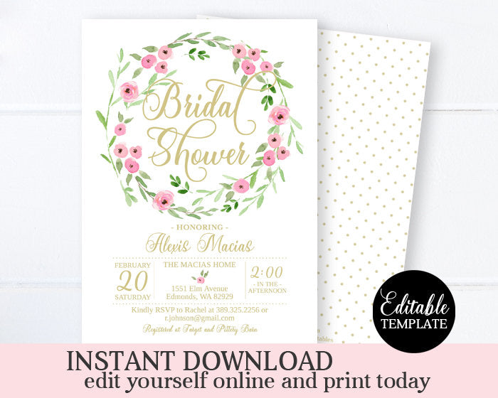 Pink and Gold Floral Bridal Shower Invitation, Bridal Brunch Invite, Printable Invitation, EDITABLE TEMPLATE