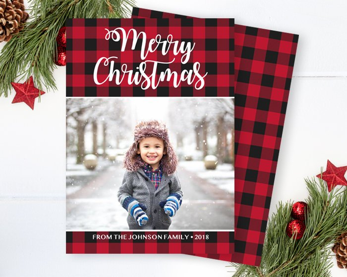 Rustic Buffalo Plaid Christmas Photo Card Red Buffalo Plaid Merry Christmas Photo Card Printable Photo Christmas Card Holiday Card