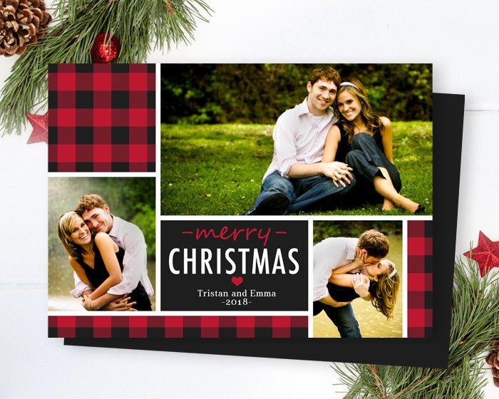 3 Photo Buffalo Plaid Christmas Photo Card Printable Modern Christmas Card Custom Printed Christmas Cards Red Black Plaid ANY WORDING