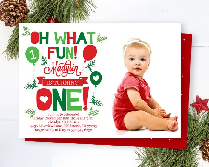 Christmas Birthday Invitation Oh What Fun! Winter Birthday Invitation Winter ONEderland Wonderland Birthday DIGITAL FILE Printed Invitations