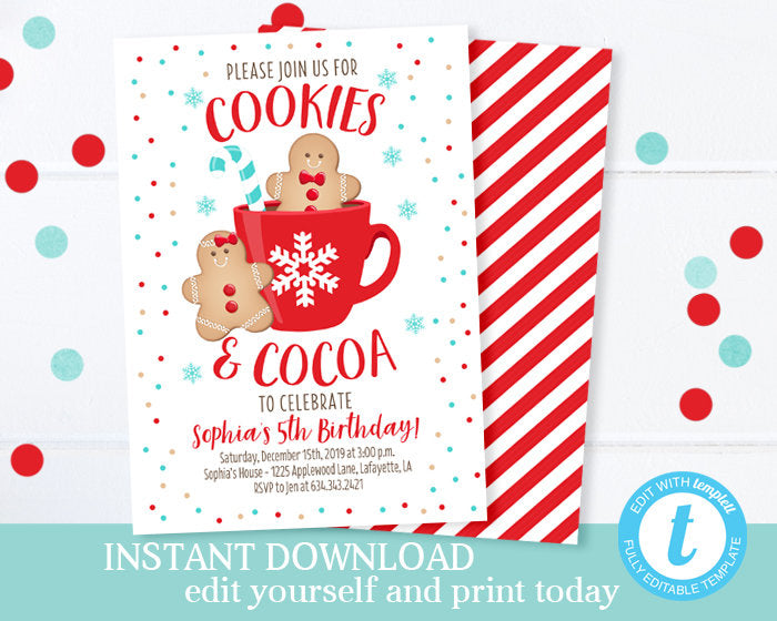Cookies and Cocoa Birthday Invitation Winter Birthday Invitation ANY AGE Cookie Decorating Party Invitation Printable Editable Template