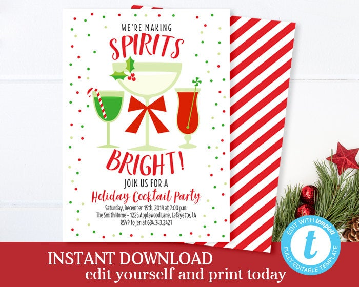Christmas Cocktail Party Invitation Making Spirits Bright Christmas Party Invitation Holiday Cocktail Party Invite Editable Template INSTANT
