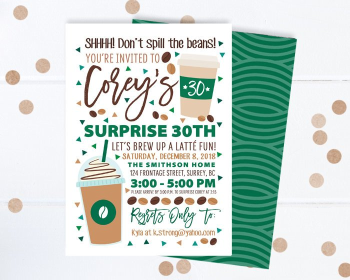 Coffee Lover Birthday Invitation Coffee Shop Birthday Surprise 30th Birthday Invite Coffee Theme Printable Invitation or Printed Invitations