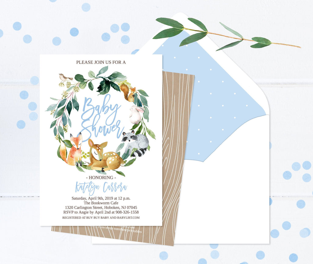 Woodland Animal Baby Shower Invitation, BOY, Woodland Animals, PRINTED Invitations or Printable, Woodland Theme, Deer, Fox, Raccoon