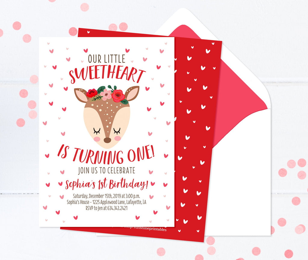 Red and Pink Sweetheart Girl Birthday Invitation Valentines Day Birthday Invite for Girl Hearts Woodland Deer Flowers Sleepy Eyes Birthday