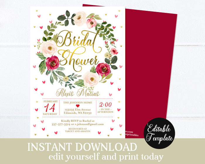 Sweetheart Shower Valentine's Bridal Shower Invitation Floral Hearts Bridal Shower Invite Wedding Shower Printable Editable Template SP0031