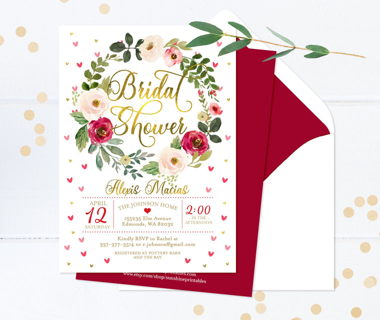Valentine Floral Bridal Shower Invitation Love is Sweet Shower Invite Printable or Printed Bridal Shower Invitations Red Pink & Gold Floral