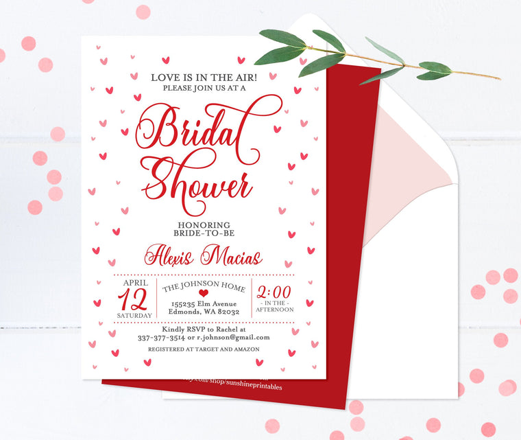 Love is in the Air Hearts Bridal Shower Invitation Sweetheart Shower Invite Red and White Valentine Bridal Shower Invitations Printed