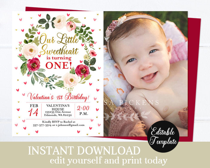 Valentine Floral 1st Birthday Invitation Girl First Birthday Invite Pink and Red Watercolor Hearts Gold Printable Invitation Editable SP0031