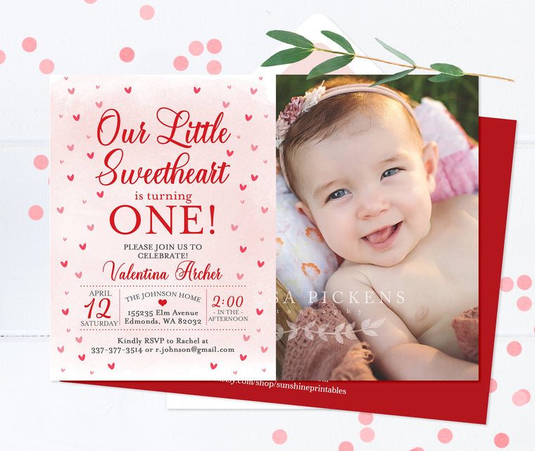 Watercolor Hearts 1st Birthday Invitation Girl Our Little Sweetheart Birthday Invite with Photo Valentine 1st Birthday Invitation Girl Red