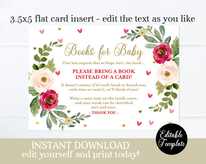 Floral Sweetheart Baby Sprinkle Invitation Valentine Baby Girl Shower Invite Printable Invitation Editable Template Red Hearts SP0031