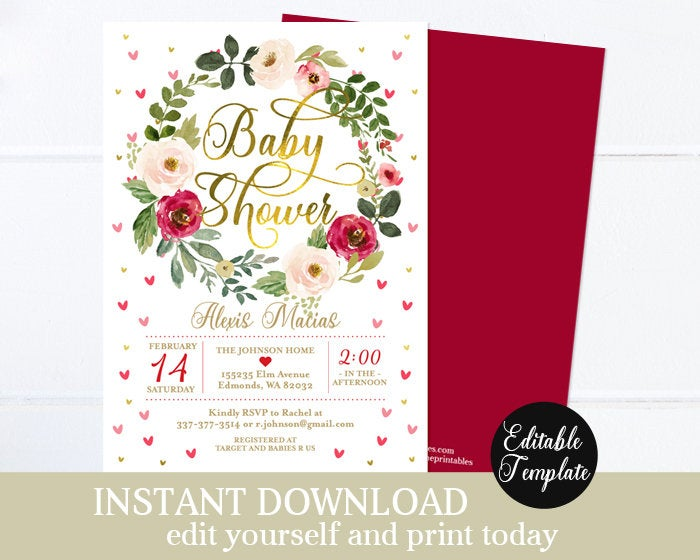 Floral Sweetheart Baby Girl Shower Invitation KIT Editable Template Instant Access Printable Invitation Kit Valentine Baby Hearts SP0031