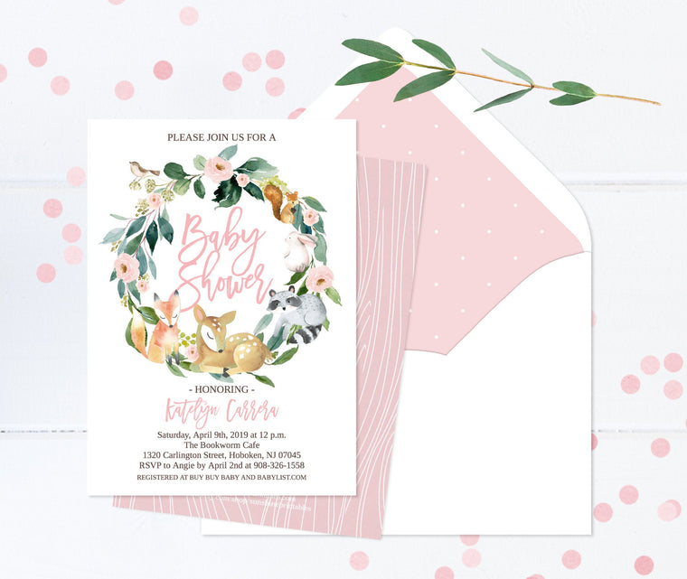 Baby Girl Shower Invitation, Floral Woodland Animals Baby Shower Invite, PRINTED Invitations or Printable, Forest Friends Deer, Fox, Raccoon