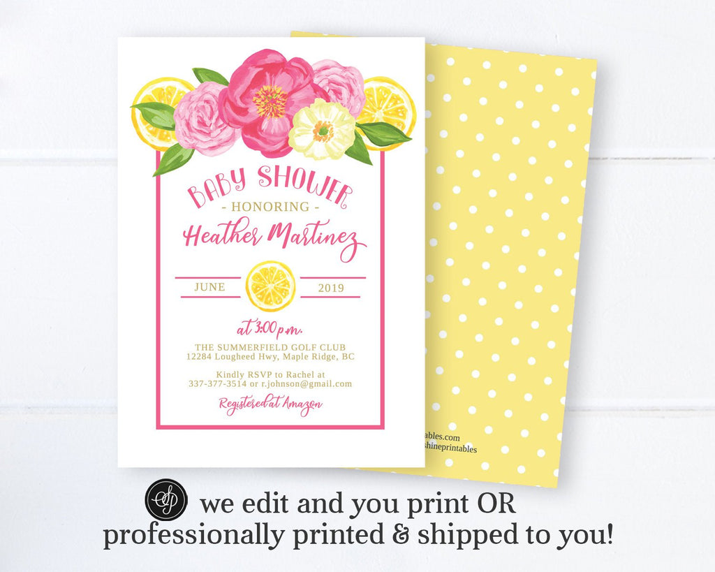 Summer Citrus Baby Shower Invitation, Lemon and Floral Baby Shower Invite, Printable Digital or Printed Invitations, Tuscan Baby Shower