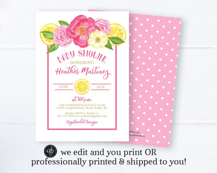 Floral and Lemon Baby Girl Shower Invitation, Tuscan Baby Shower Invitation, Printable Digital or Printed Invitations, Baby Sprinkle, Summer