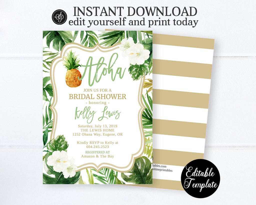 Hawaiian Luau Bridal Shower Invitation Template, Tropical Greenery Bridal Shower Invite, Aloha Bride, EDITABLE TEMPLATE, Printable, SP0038