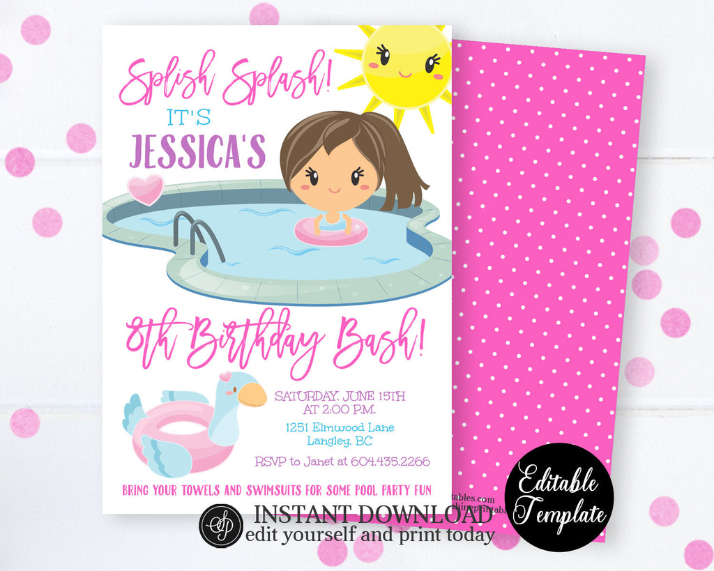 Splish Splash Birthday Bash Pool Party Invitation, Girl Swimming Birthday Invitation, Printable EDITABLE Template, Instant Access SP0039