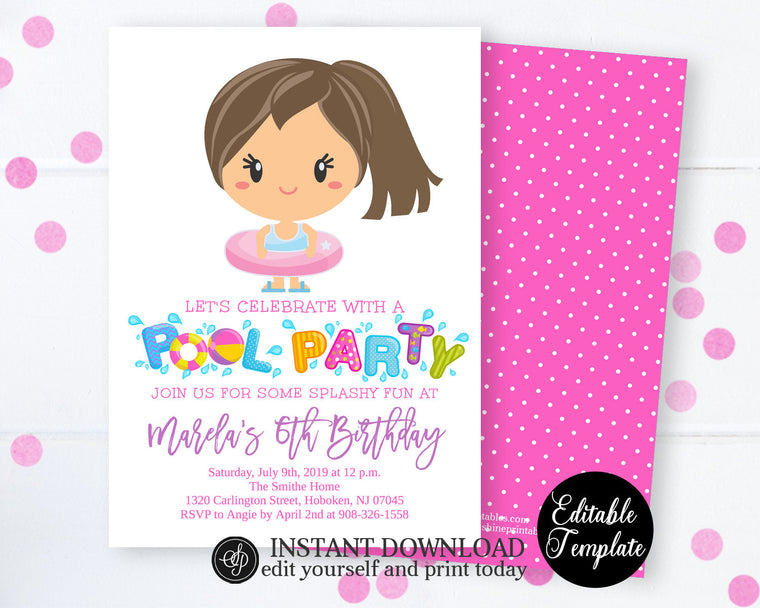 Printable Girl Pool Party Birthday Invitation, Summer Birthday Invitation for Girl, EDITABLE Template, Instant Access SP0039