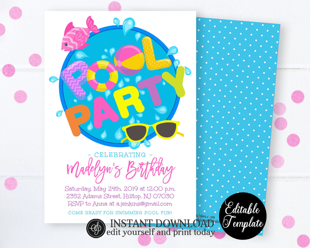 Editable Pool Party Invitation, Swimming Pool Birthday Party, Girl Pool Party, Swimming Birthday, Summer Swimming Party, SP0039