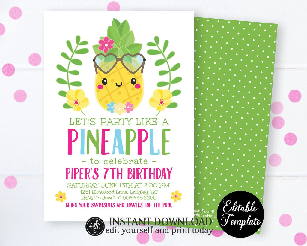 Let's Party Like a Pineapple Invitation, Pineapple Birthday Invitation, Summer Birthday Party Invite, Printable, EDITABLE TEMPLATE, SP0042