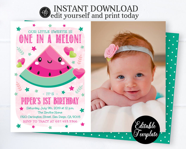 One in a Melon Girl 1st Birthday Invitation with PHOTO, Summer Birthday Party Invite, Watermelon Theme, EDITABLE TEMPLATE, SP0043
